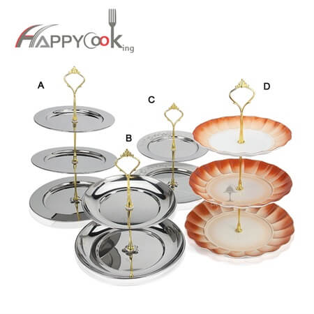 Tiered serving 3 tier serving tray of wholesale multi-layer high quality stainless steel HC-01006