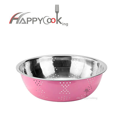 Bowl salad food basin of stainless steel of many different sizes colour painting outside HC-00415-B