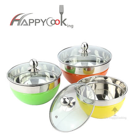 Cake mixing bowl salad bowl with lid  of stainless steel with new structure salad cutter   HC-00414