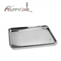 Large tray square of stainless steel with OEM service logo plate rectangle HC-00616