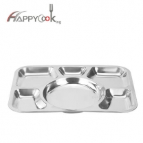 White serving tray compartment plate of stainless steel rectangle shape with 6 compartment HC-00609