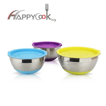 Prep bowls storage bowl of stainless steel of anti-skid silicone base salad HC-00201