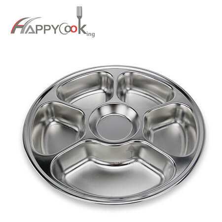 Circular tray stainless steel food tray of manufacturer round divided tray HC-00621-A