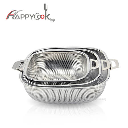 Stainless steel basket square bowl of double handles dense holes multipurpose HC-00407