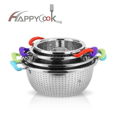 Stainless steel basket strainer rice washing bowl of hot selling kitchen accessories HC-00417-B