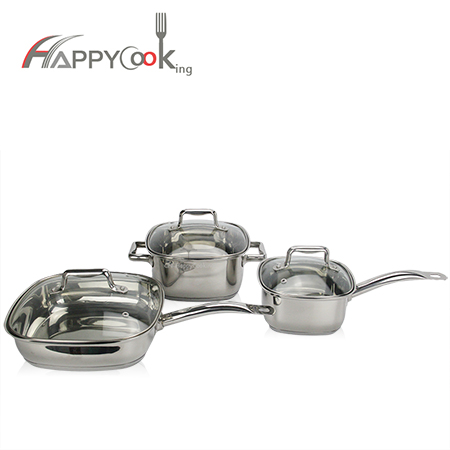 Kitchenware pot set of  stainless cookware 3 sets  factory wholesale supplier HC-0001-A