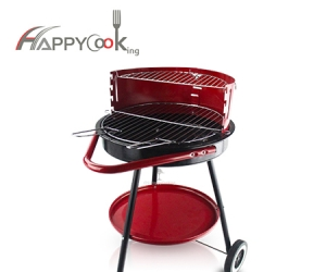 Round portable BBQ of double-sided iron charcoal outdoor grill wholesale