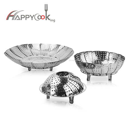 Steam tray multifunctional of stainless steel circular magic retractable folding plate HC-03507