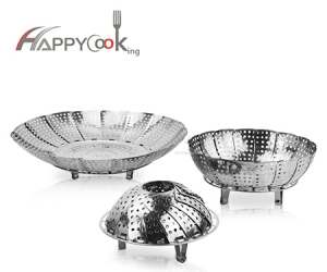 Steam tray multifunctional of stainless steel circular magic retractable folding fruit plate