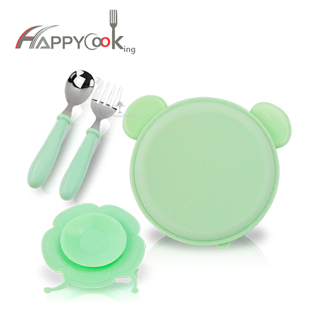 Children tableware set with spoon fork sucker 4pcs baby bowl dishes gift stainless steel HC-03217