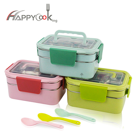 School food container stainless steel manufacturer wholesale student lunch box with spoon HC-03128