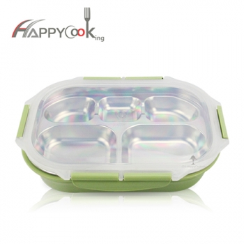Bento box for kids school 304 stainless steel 5 grid lunch box microwave oven container box HC-03125