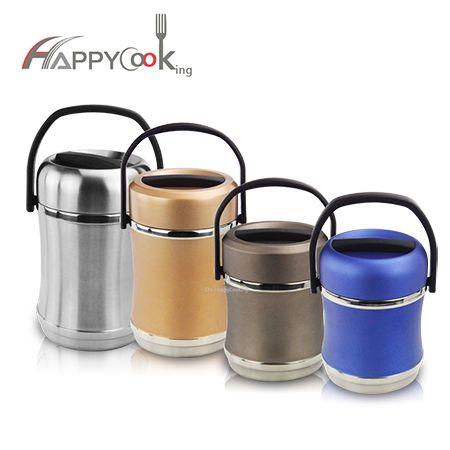 Vacuum insulated lunch box stainless steel thermos food jar with cover handle double wall HC-03019