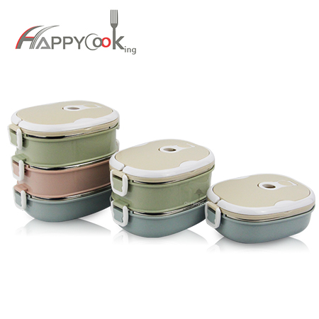 3 layer lunch box stainless steel factory school thermal insulated bento container box HC-03001-C