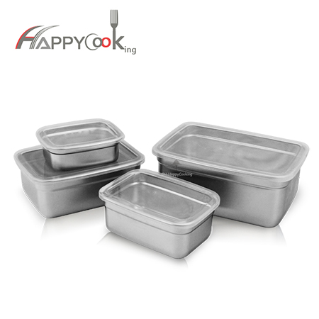lunch crisper box set stainless steel large capacity metal kitchen storage jar supplier HC-03125