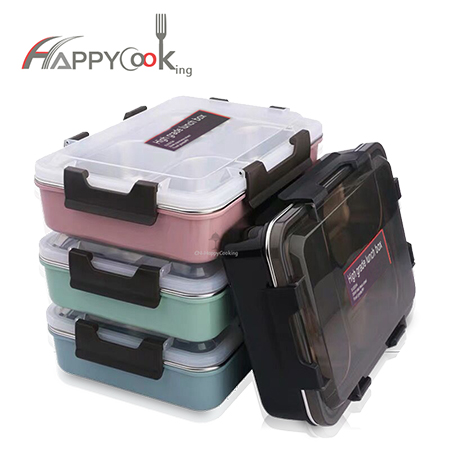 insulation bento tray stainless steel 3/4/5 grid school office lunchbox microwave office HC-02902
