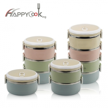 4 layer portable lunch box stainless steel multi-layer school food container picnic expor HC-03101-E