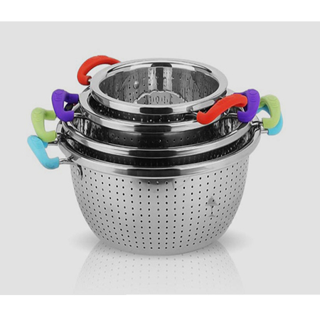 Stainless steel basket strainer rice washing bowl of hot selling kitchen accesso