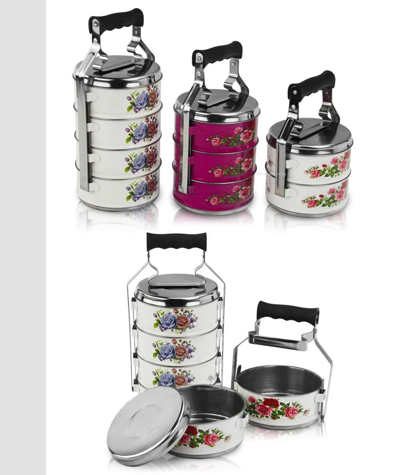 metal tiffin container price 2/3/4 layer food carrier