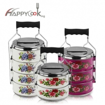 Metal tiffin container stainless steel 2/3/4 layer food carrier keep portable lunchbox HC-03110-D