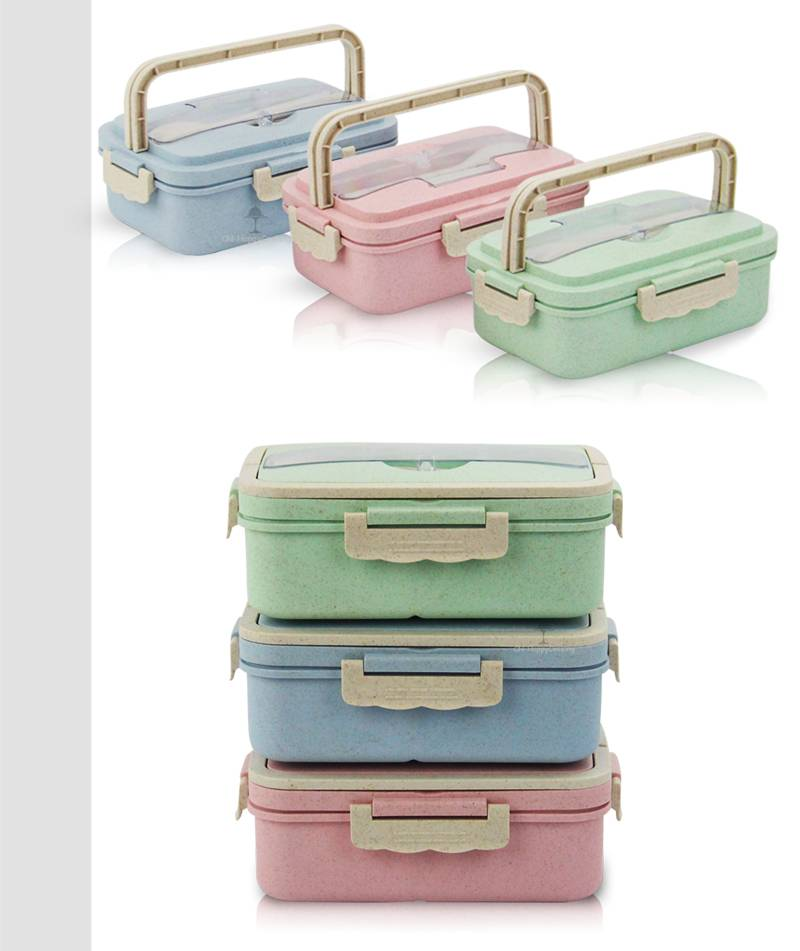wheat straw food storage lunch box container 3 grid wholesale