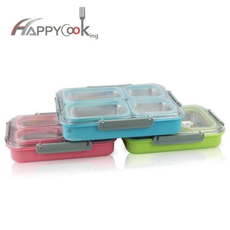 Lunch boxes hot sale, 3 or 4 compartment lunchbox with pink, green, blue color HC-02907