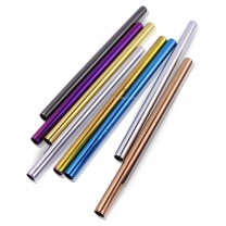 Stainless Steel Straws Reusable Smoothie Straws (12MM) Multi-Colored Metal Drinking Straws HC-04124