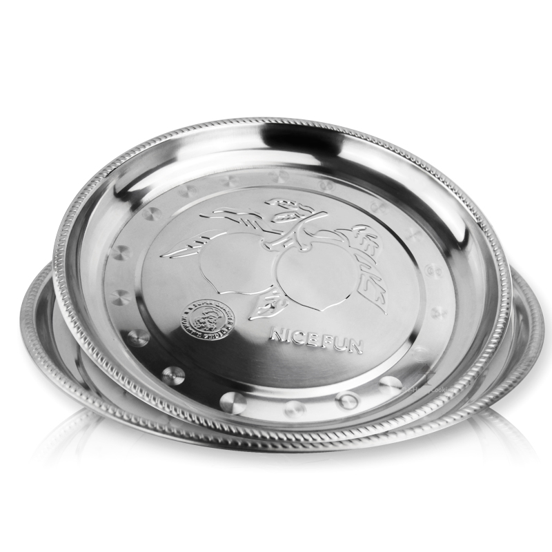 Round stainless steel fruit tray and metal platefor holding edible oil