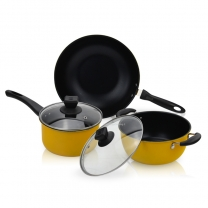 Induction Carbon Steel 3 Piece Non Stick Pot Frying Saucepan Grill Pan Cookware Pot  HC-01719-B