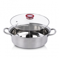 Shabu Pot Cooker, Stainless Hot Pot, Soup Cooking Tool,2 Grid 2 Taste Stainless Steel  HC-01901-B