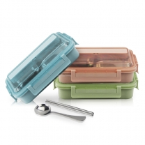 Bento Box for Kids Adults Students 4 Compartment with Spoon Chopsticks Leakproof Lunch BoxHC-02918-B