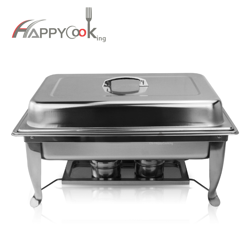 9L Stainless Steel Serve Chafer Square Buffet Stove Restaurant Chafing Dish Food Warmer HC-02403-C