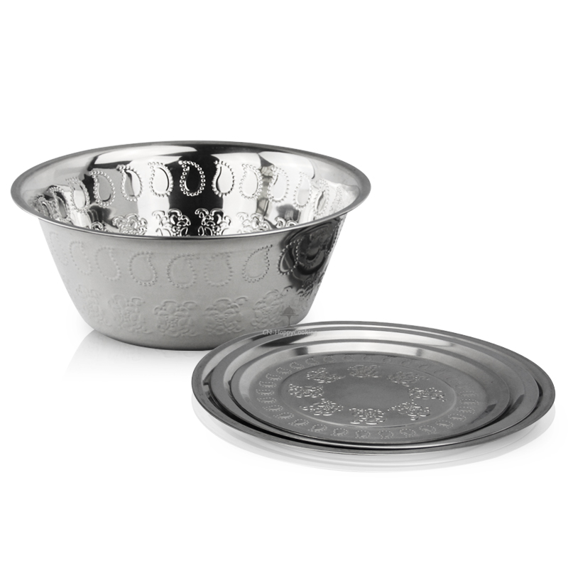 Nesting Bowls Set Stainless Steel Foot Basin Kitchen Stacking Serving Bowl Set Food  HC-1607