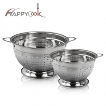 Footed Stainless Steel Double-Handle Colander Stainless Steel Colander Rice Basket HC-00422