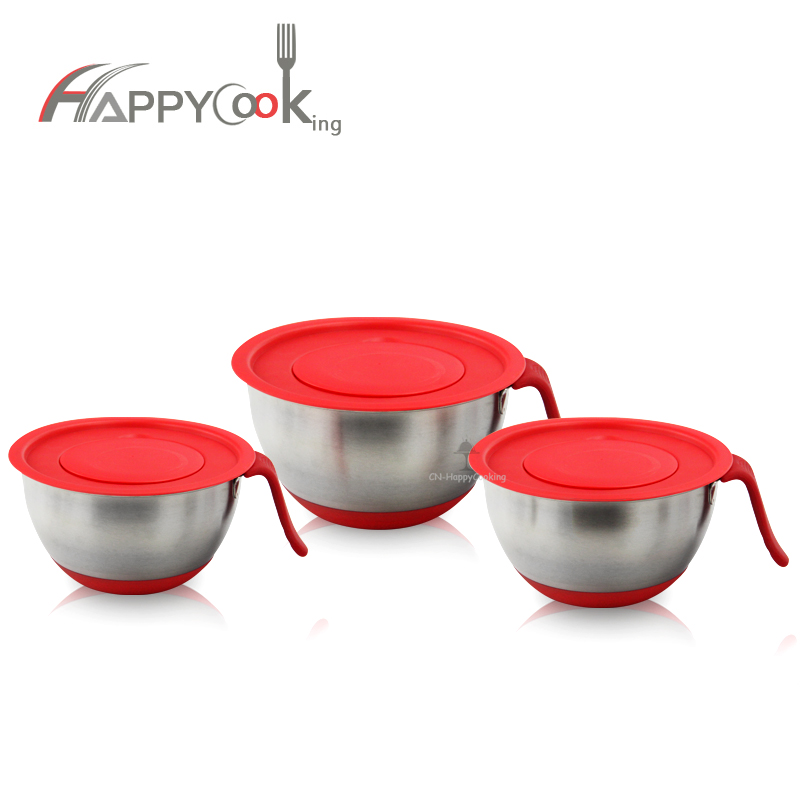 Stainless Steel Mixing Multi Bowls With Airtight Lids Mixing  Non-Slip Salad Bowl HC-00200