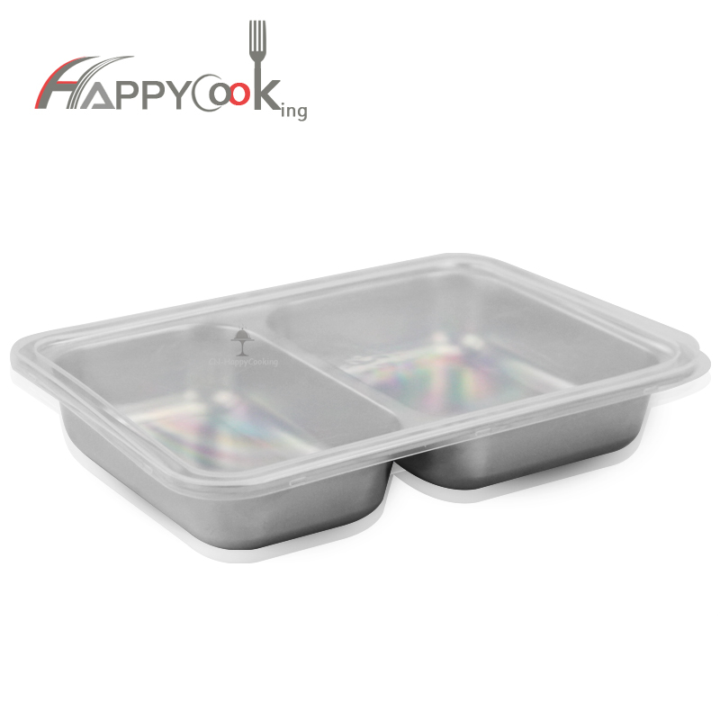 StainlessSteel Divided Tray Snack Serving Tray for School Personal Dining Room HC-00620-F