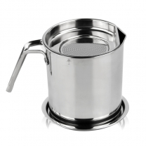 Stainless Steel Oil Strainer Oil Storage with Mesh Strainer Fat Container Pot Oil Filter MugHC-03316
