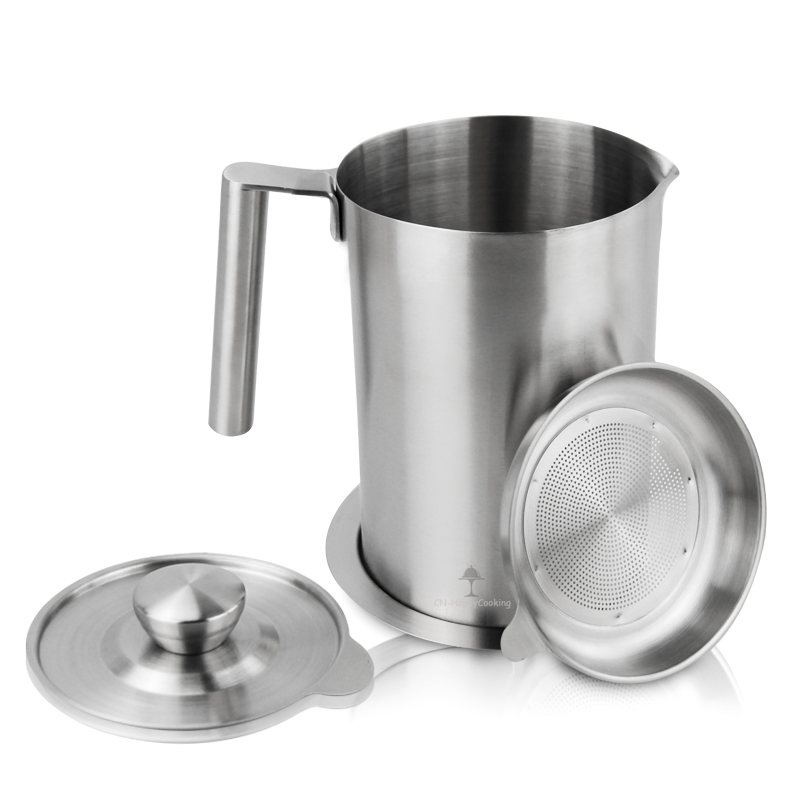 Bacon Grease Container Stainless Steel Oil Pot with Mesh Strainer Screen Oil Pot HC-03318