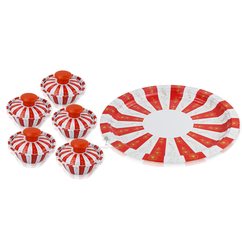 Creative Solid Restaurant Plate Steel Circle Plate Printing Home Dining Plate Bowl Sets HC-03901