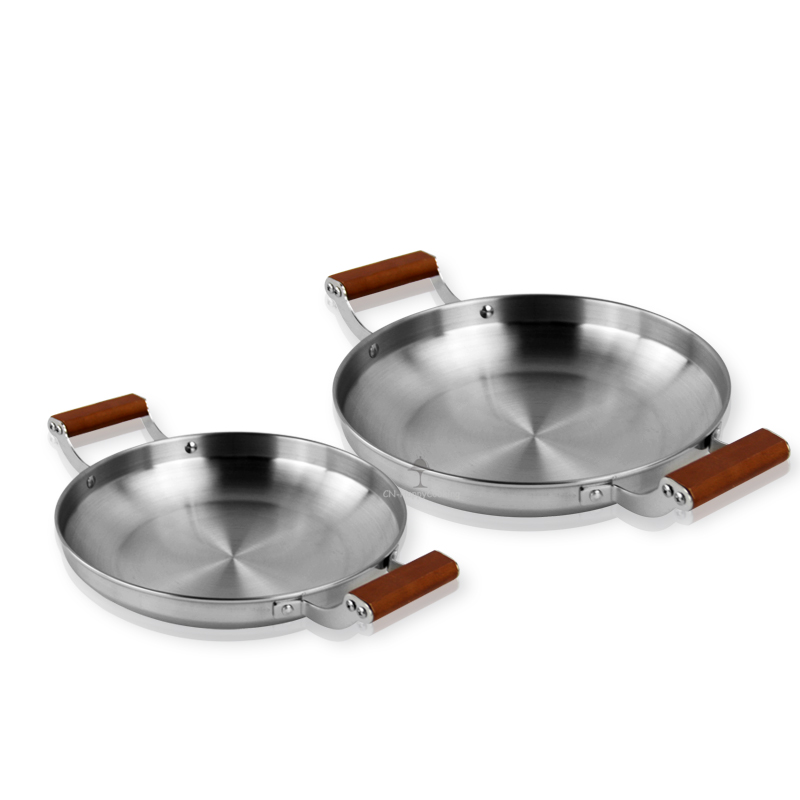 Wooden handle pan  ODM seafood pan supplier