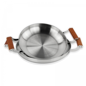 Stainless Steel Paella Pan Wooden handle pan?