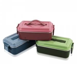 Lunch Bento Box Stackable Stainless Steel Food Containers Box 2 Tier Containers Box HC-02940
