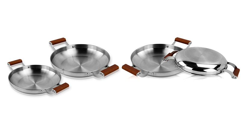 Stainless steel omd  Wooden handle pan