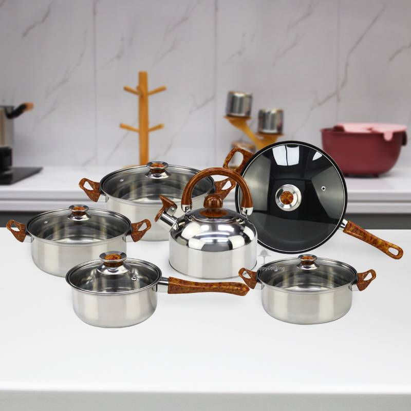 Pots and Pans Non Stick pans with Glass lid Set of Cooking Stainless Steel cookware HC-01720
