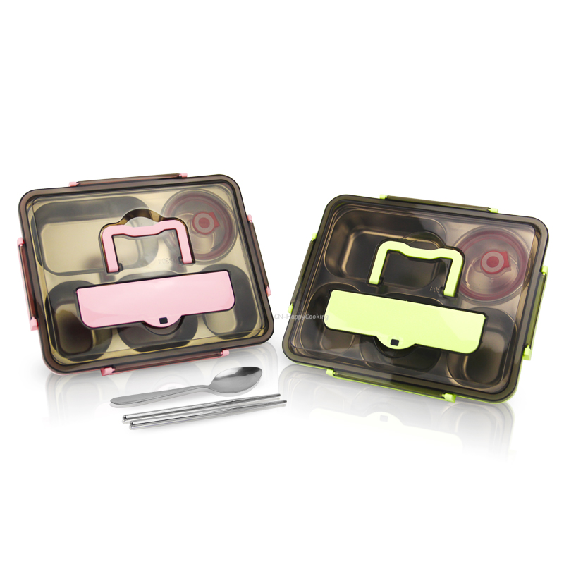 Lunch Box Food Container with 5 Compartments and Cutlery Set Thermal Lunch Box  HC-02938-B