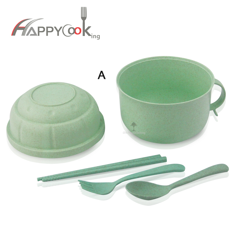 Microwave Bento Box for Kids with Lid Large Wheat Straw Cup Microwave Dishwasher  HC-02920