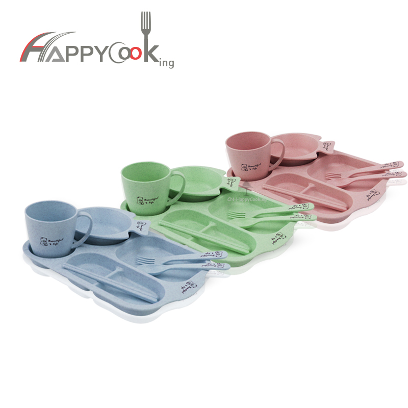 Divided Plates with Bowl Cutlery Set Wheat Straw Lunch Box Divided Child Plate HC-02922
