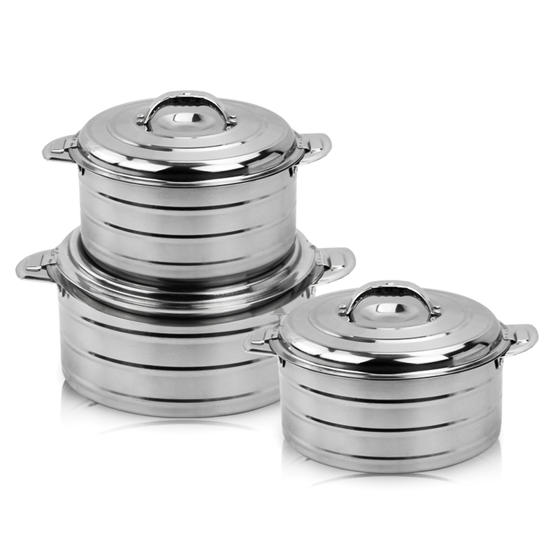 Stainless Steel Pan Induction Food Warmer Double Wall Round Casserole Pot  HC-01717