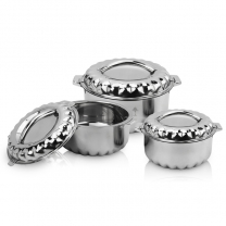 3pc Stainless Steel Cold Hot Pot Food Insulated Stainless Pan Induction Casserole HC-01718