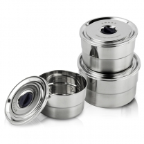 Stainless Steel Containers Food Storage with Lids Set of 3 Steel Shave Bowl with Lids HC-03221